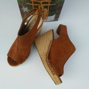 Brash Espadrilles tan suede open toe wedge shoes
